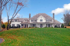 front view of greenwich ct spec house by demotte architects