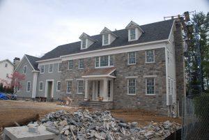 front construction progress veneer