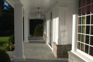 Front porch of Colonial spec house in Connecticut