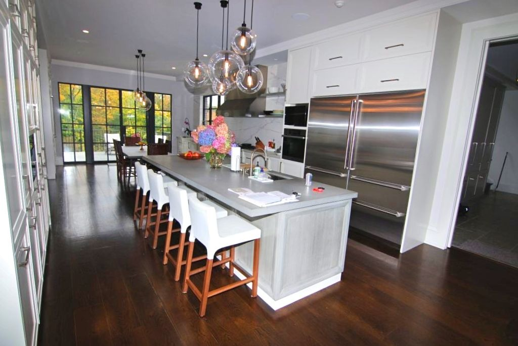 Georgian Colonial home kitchen with steel doors in Greenwich CT