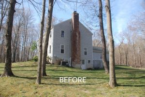 Side of Center Hall Colonial before addition