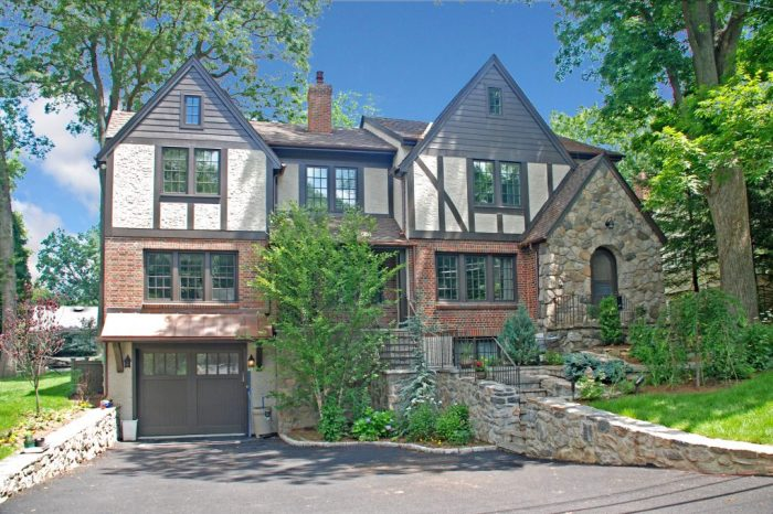front of tudor home remodel in rye ny by demotte architects