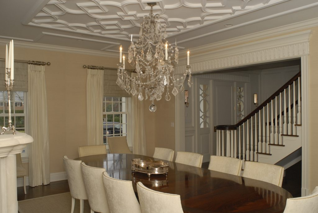 white dining area georgian colonial greenwich ct
