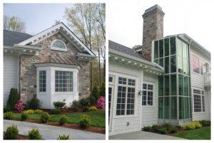 Custom home with fiber cement shingles, thin-stone veneer, and large windows