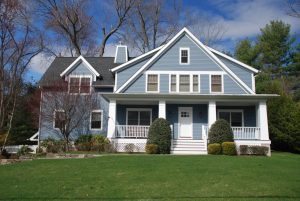 front of arts and crafts spec house in rye brook ny by demotte architects