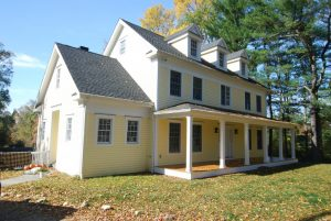 exterior of custom colonial home in wilton ct by demotte architects