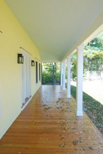 front porch of wilton ct custom home by demotte architects