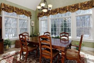 Dining room in shingle style home in NY