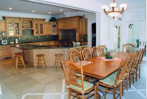 Dining space in French Country home in Katonah