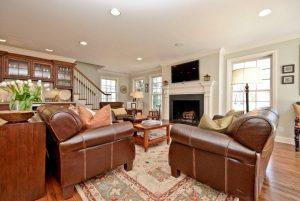 Family room in split level home addition remodel