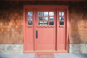 Front door of shingle style home in Rye Brook NY
