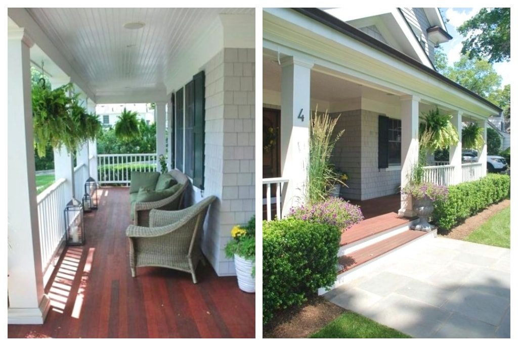 Front porch of Colonial home with cedar shingles in NY