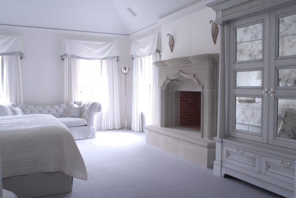 Georgian Colonial home design bedroom shown in Greenwich