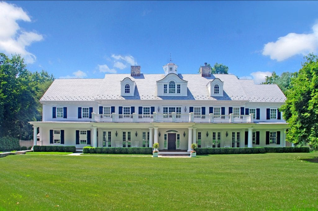 Grand Colonial home design in Westport CT by DeMotte Architects