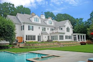 Grand Colonial home in Westport CT rear shown
