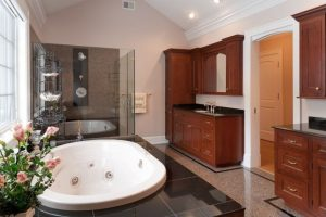 french country home master bathroom