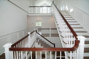 Interior of Westport CT home by DeMotte Architects stairs shown