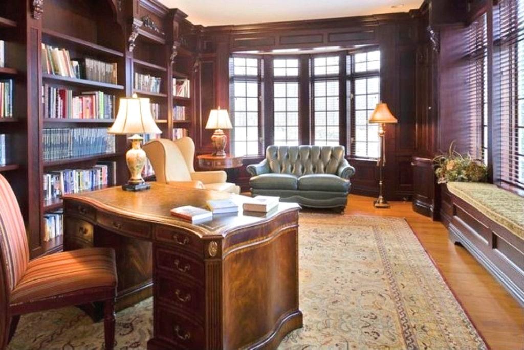 Katonah NY study in custom home by DeMotte Architects