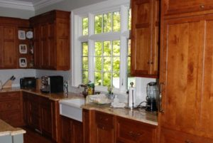 Kitchen cabinets in shingle style home in Rye Brook NY