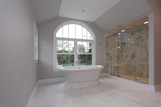 Master Bathroom with large window in rye ny home
