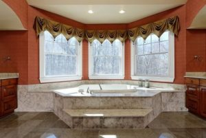 Master bath in shingle style home
