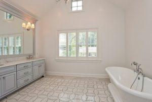 Master bathroom in custom Colonial home in Rye NY