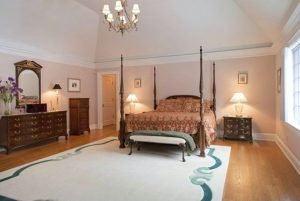 Master bedroom in French Country home in NY