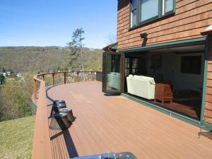 New Fairfield CT home design by DeMotte Architects deck shown