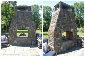 Outdoor fireplace in NY terrace shown