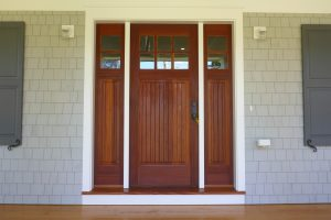 front door of shingle style home in rye ny by demotte architects new york architect
