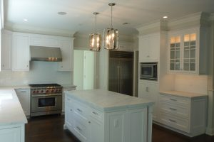 rye ny kitchen and island shown by demotte architects