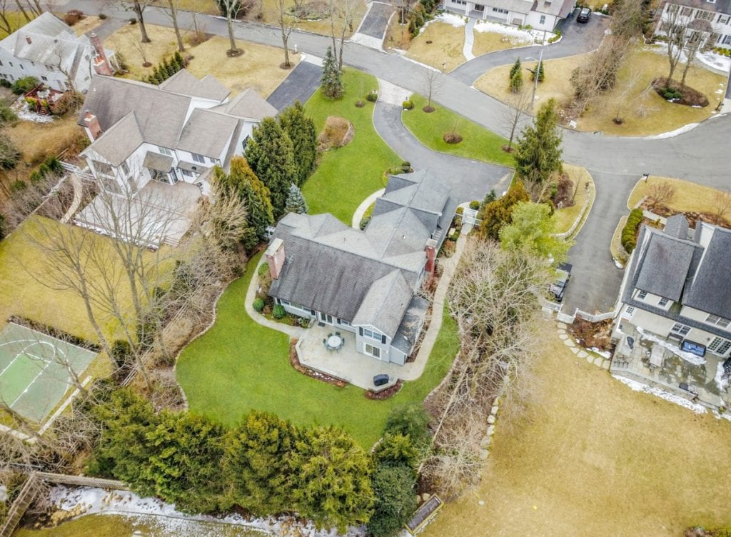 Rye NY Colonial addition remodel aerial view shown