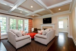 Rye NY Colonial home family room with coffered ceiling