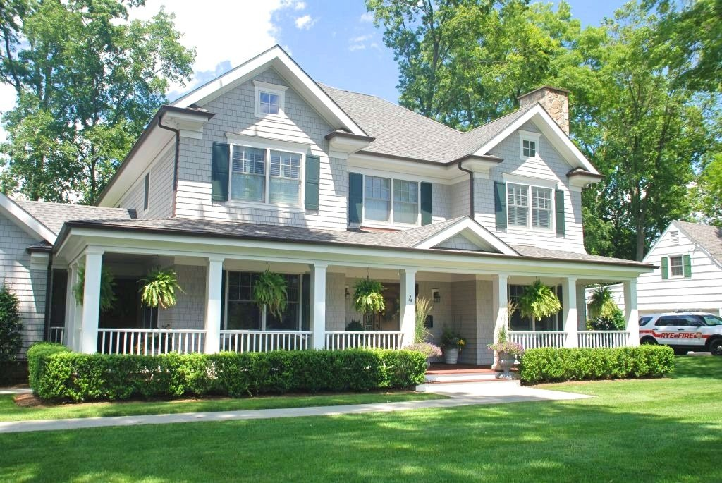 Rye NY Colonial home with porch by DeMotte Architects