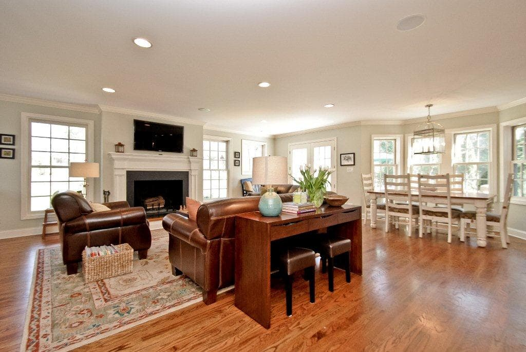 Rye NY home after remodel interiors shown