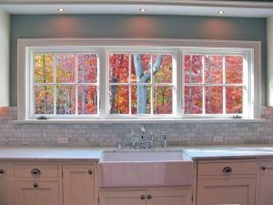 Rye NY kitchen view after addition by DeMotte Architects