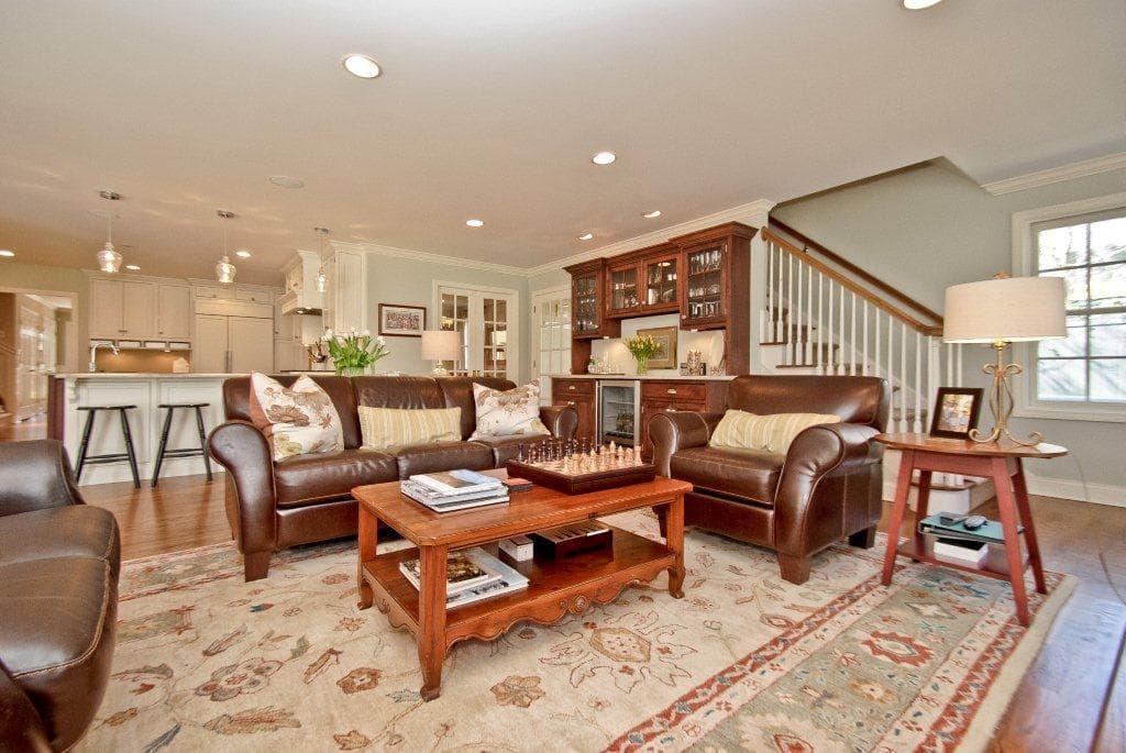 Rye NY split level remodel family room shown