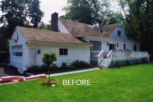 Cape rear before remodel in NY