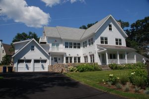 Connecticut modern farmhouse design by DeMotte Architects exterior shown