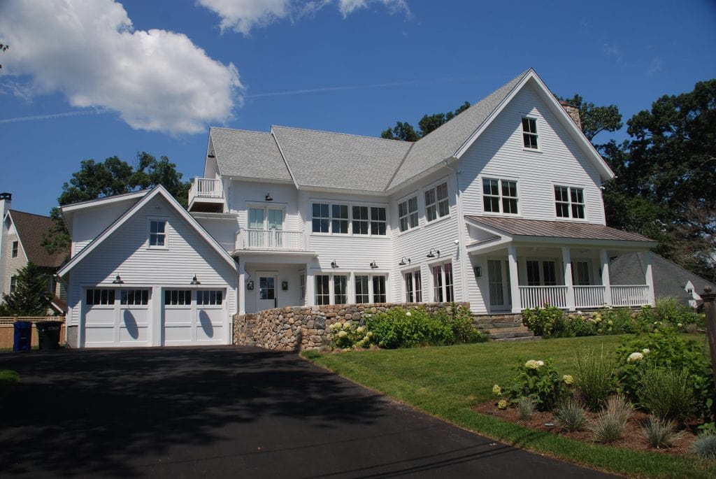 Connecticut modern farmhouse design by DeMotte Architects exterior shown