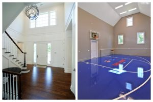Custom home in Scarsdale NY with high ceilings and indoor basketball court