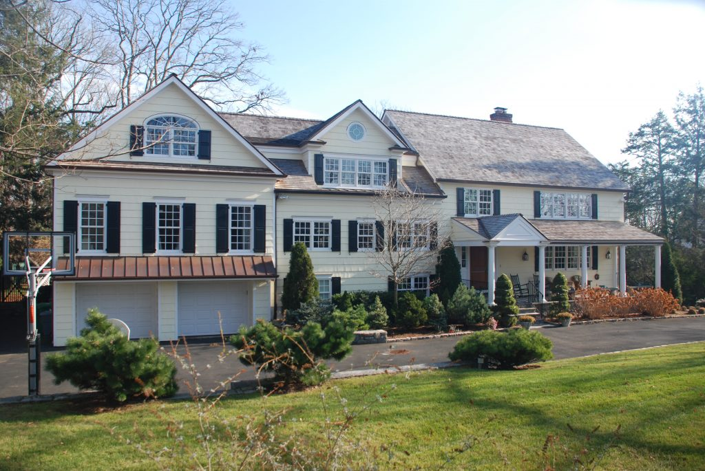 exterior of greenwich ct home addition by demotte architects