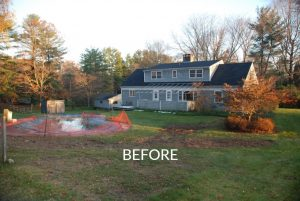 Home before remodel in Washington CT rear shown