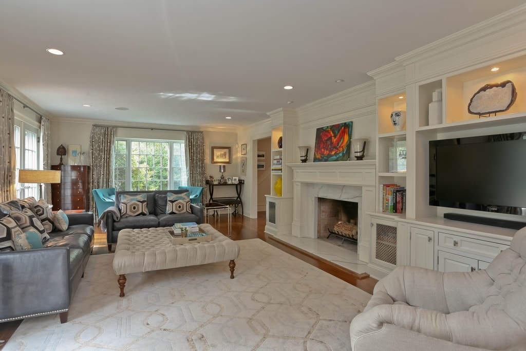 Living room in Scarsdale NY home after remodel