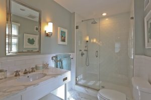 Master bathroom in Scarsdale home remodel by DeMotte Architects
