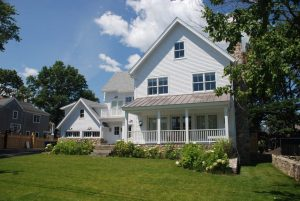 Modern farmhouse with porch in Rowayton Connecticut