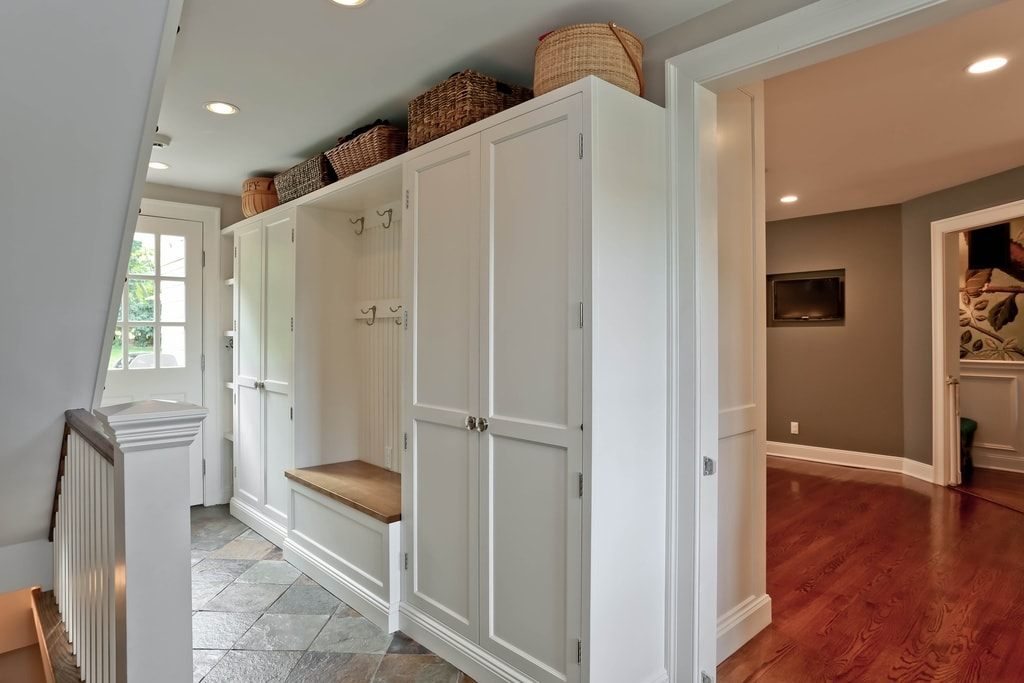 Mudroom entry design in NY home remodel by DeMotte Architects