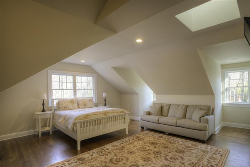 Pound Ridge NY bedroom in remodeled home by DeMotte Architects