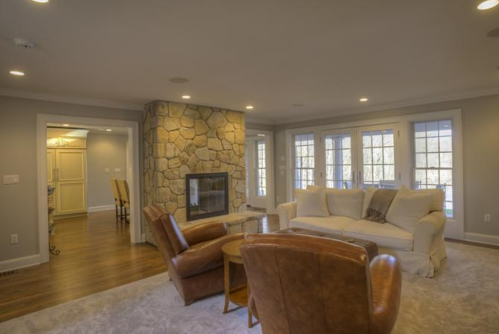 Pound Ridge NY family room in remodeled home by DeMotte Architects