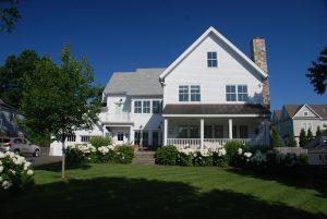 Rowayton Connecticut Modern Farmhouse Custom Home Exterior by DeMotte Architects